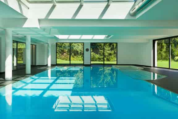 this is a photo of an indoor swimming pool